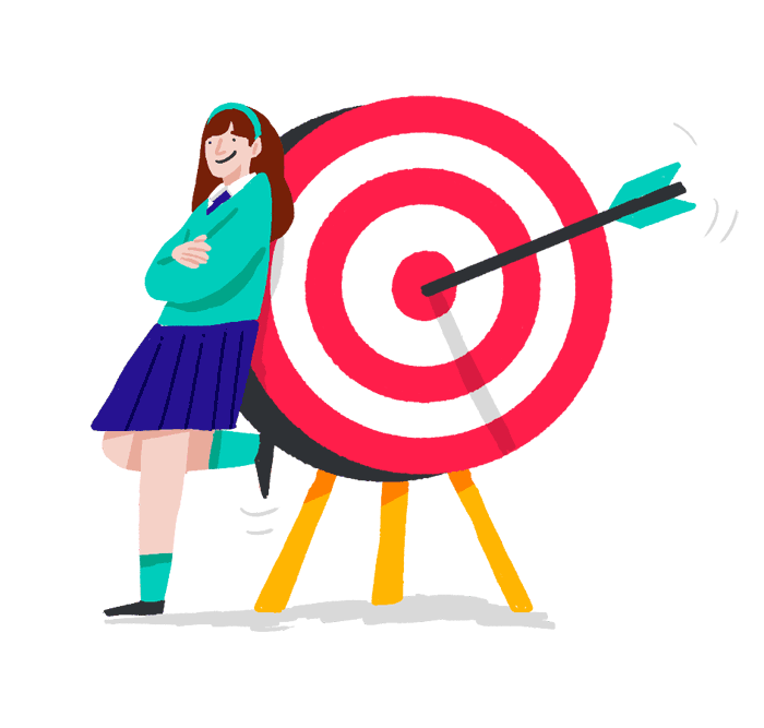 An illustration of a schoolgirl leaning against a target board. There is an arrow in the bullseye.