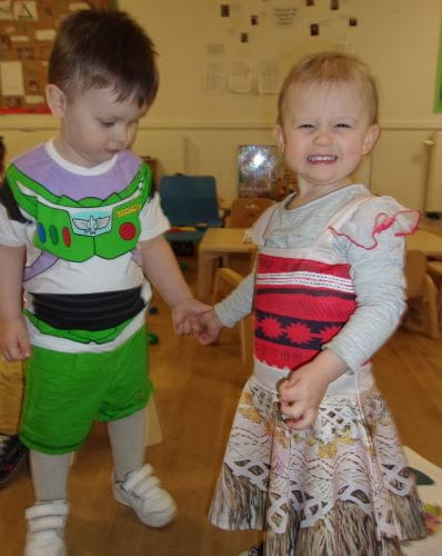 Two toddlers dressed up as their favourite book characters for World Book Day