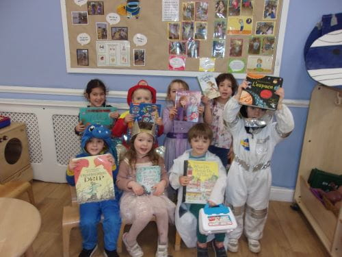 A group of young children dressed as their favourite book characters for World Book Day