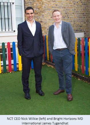 NCT CEO Nick Wilkie (left) and Bright Horizons MD International James Tugendhat