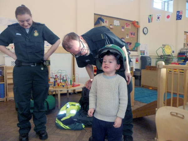 Paramedics visit the children at Stockwell Day Nursery and Preschool