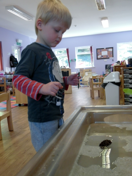 Englefield Green Day Nursery and Preschool learn about floating objects as part of Bright Horizons' Growing Scientists