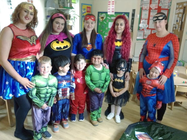 Court Oak Kindergarten dress up as their favourite superheroes