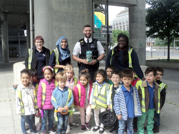 East India Dock Preschool meet a local police officer