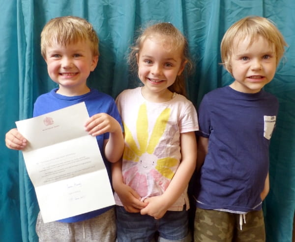 Elsie Inglis Day Nursery and Preschool receive a letter from the Queen