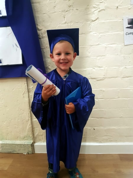 School leavers at Stepping Stones Day Nursery and Preschool celebrate with a graduation ceremony