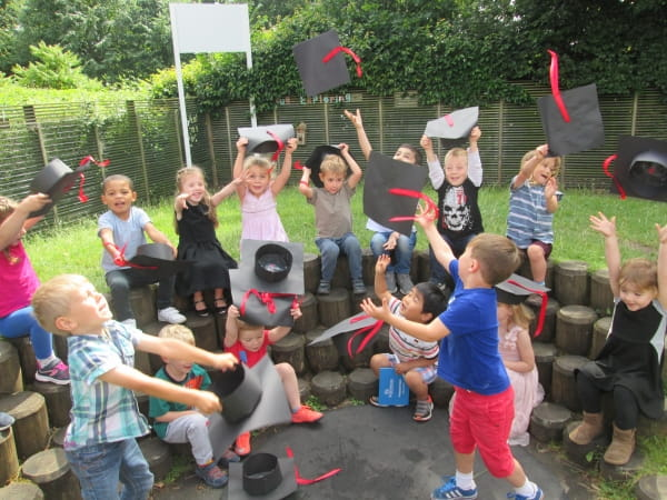 Preschool children at Summerfields Day Nursery and Preschool celebrate graduation to big school