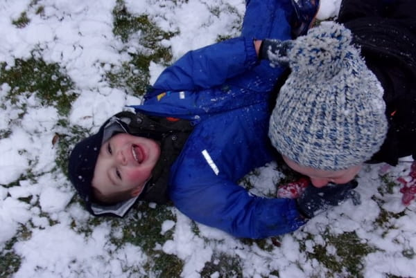 Liverpool nursery children make the most of snowy weather